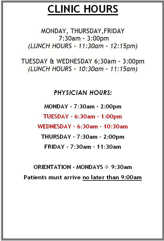 New Hours – Effective July 3rd, 2017